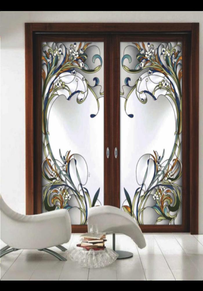 Geam decorativ pentru usa interioara, Provence