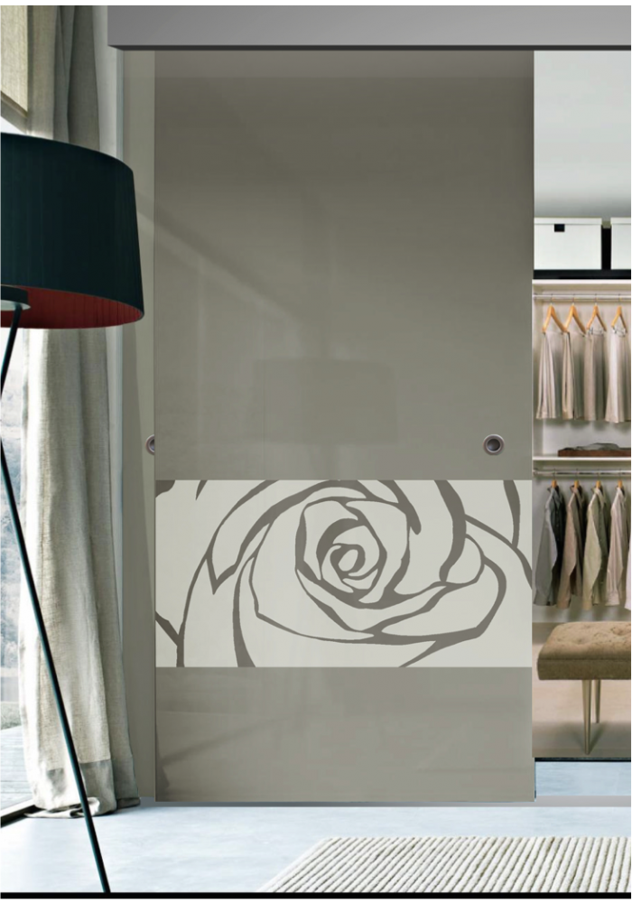 Garderoba usa glisanta din sticla vopsita simpla model for Usa glisanta