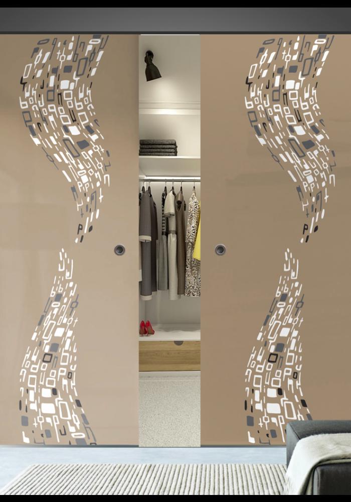 Garderoba usa glisanta din sticla vopsita dubla model wave 2 for Usa glisanta