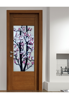 Geam vitraliu usa interioara cu magnolii pe sticla mata