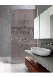 PARAVAN DUS walk in LUXOR, sticla bronz, culoare sablare: incolor
