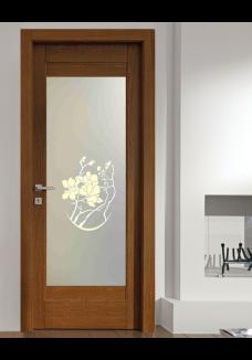 Geam decorativ sablat pt. usa interioara Magnolia