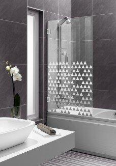 Paravan cada, model triunghiuri, sticla clara cu model sablat alb