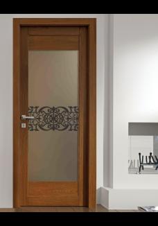 Geam bronz decorativ sablat pt. usa interioara sticla bronz