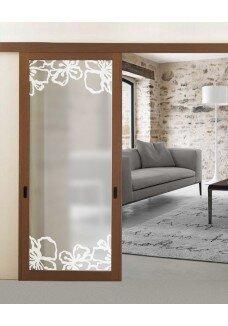 Usa sticla sablata, geam decorativ