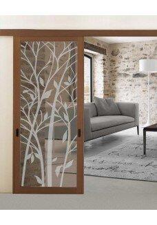 Geam decorativ pentru usa interioara, (37) model WOOD