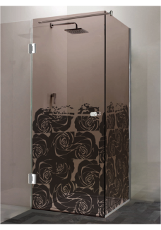 Cabina dus, (12), colt, patrata, sticla bronz, 8 mm, model: QUELLE PREMIUM TRANDAFIRI